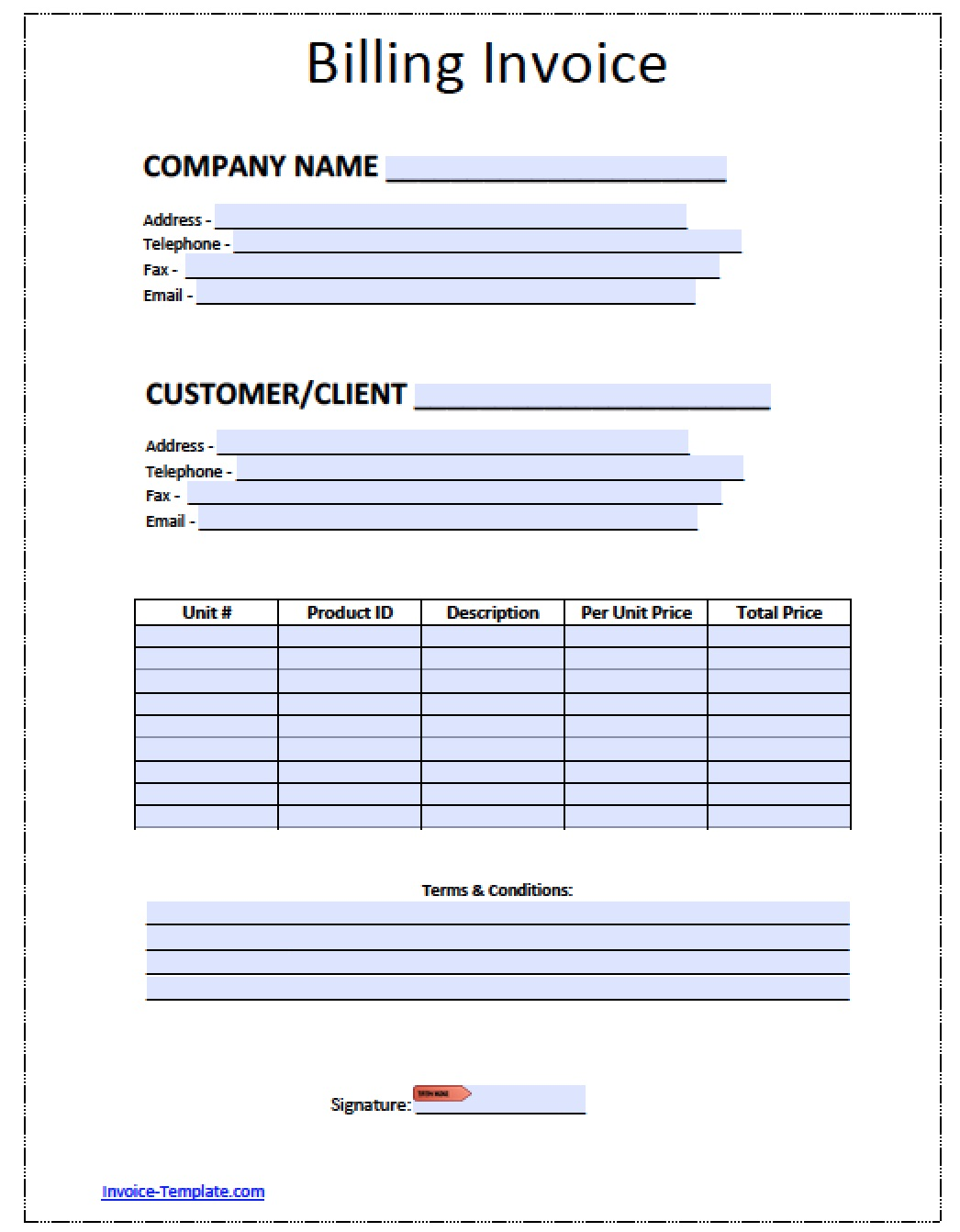 Free Blank Invoice Templates in PDF Word Excel – Sales Invoice Template Word