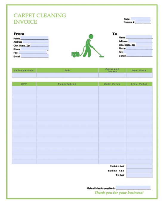 Free Carpet Cleaning Service Invoice Template Excel