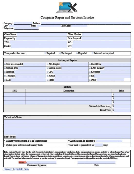 maintenance invoice