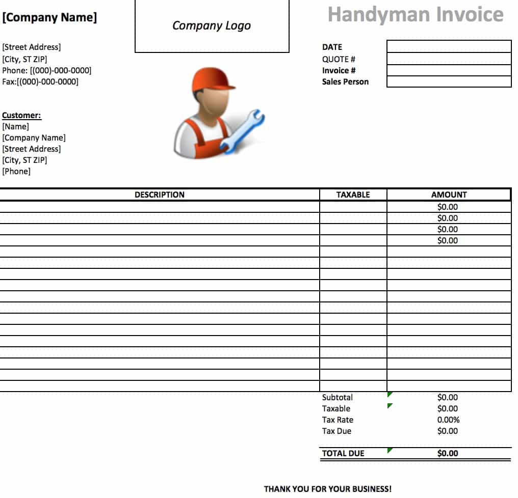 free handyman invoice template excel pdf word doc. Black Bedroom Furniture Sets. Home Design Ideas
