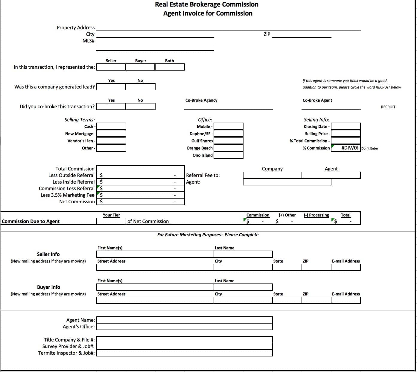 Free Real Estate Brokerage Commission Invoice Template | Excel
