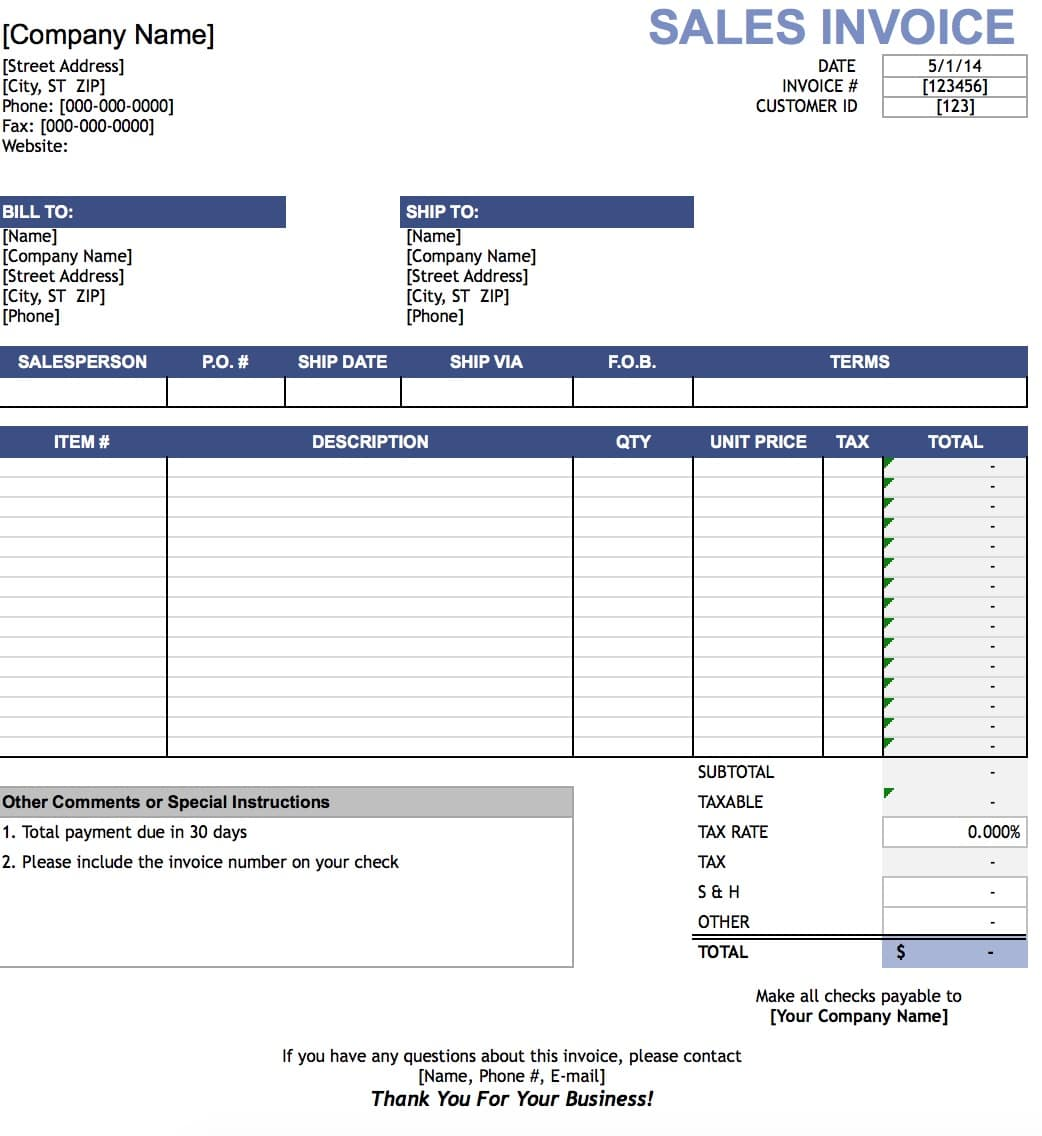Free Sales Invoice Template Excel PDF – Sales Invoice Sample