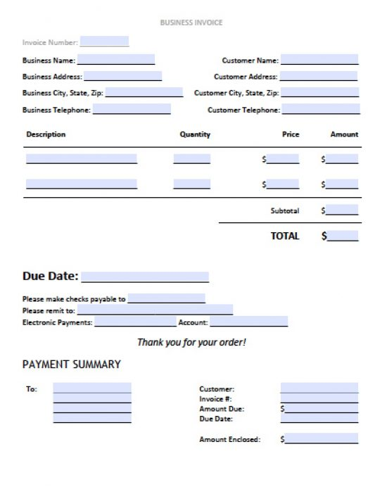 Free Business Invoice Template  Excel  Pdf  Word Doc