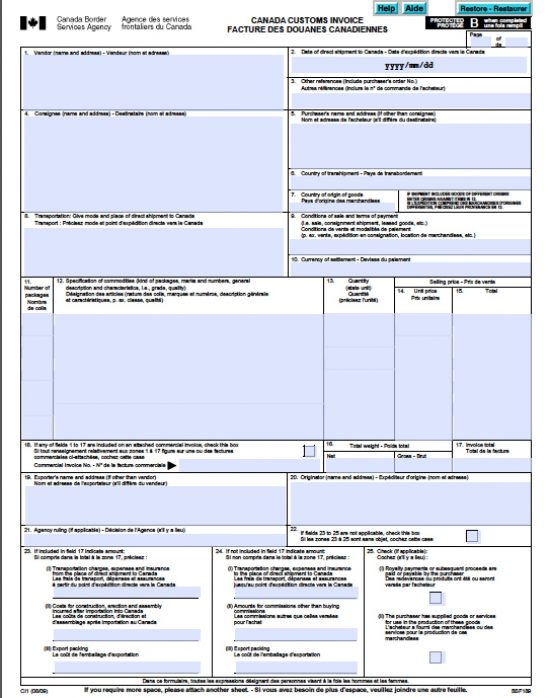 Free Canada Customs Commercial Invoice Template Form CI1 – Commerical Invoice Template