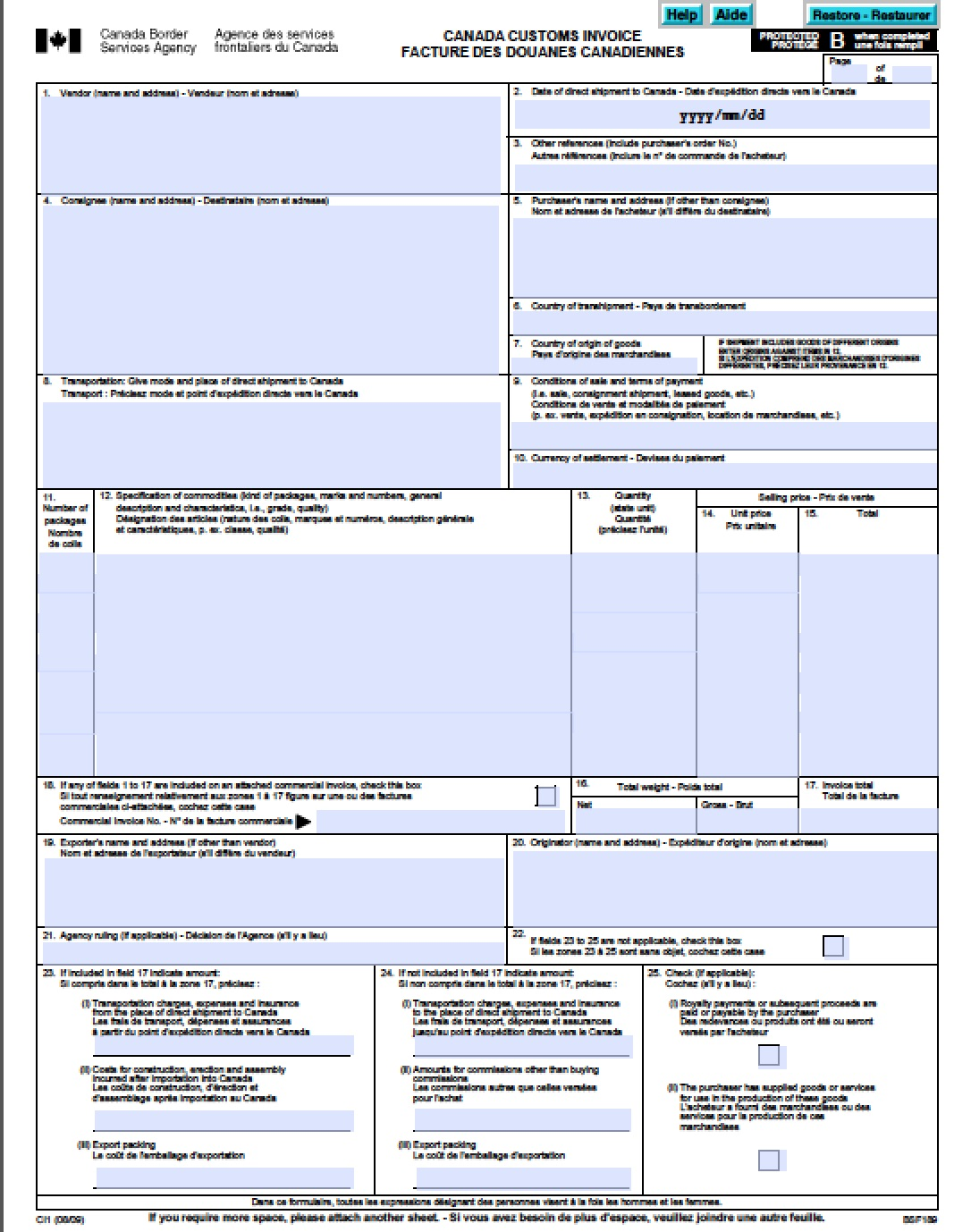 free canada customs commercial invoice template | form ci1 | excel, Invoice templates