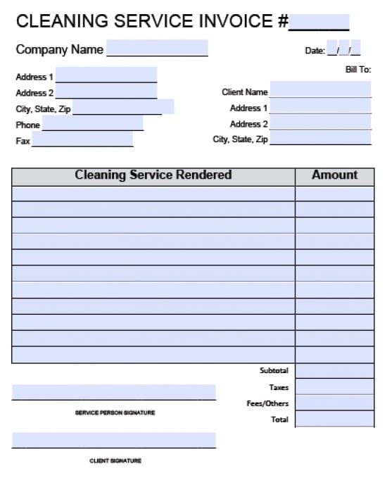 Free House Cleaning Service Invoice Template Excel PDF – Examples of Invoices for Services Rendered