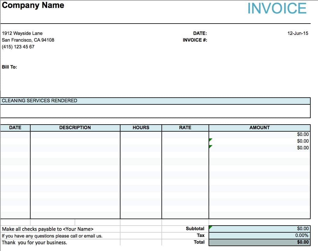 Free House Cleaning Service Invoice Template Excel PDF – Services Receipt Template