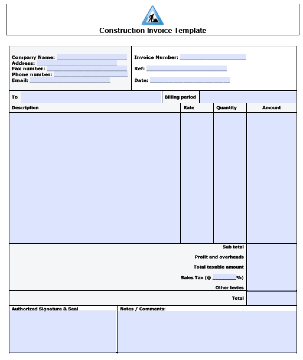 construction invoice template excel pdf word doc