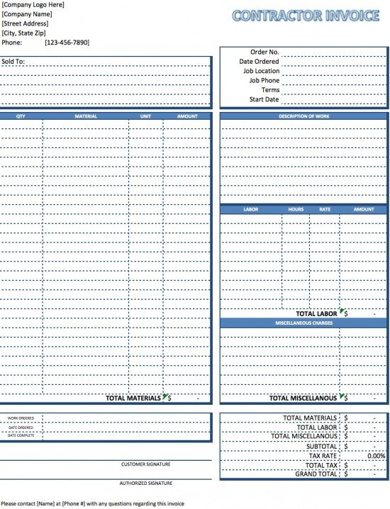 Free Contractor Invoice Template Excel PDF – Construction Invoice Template