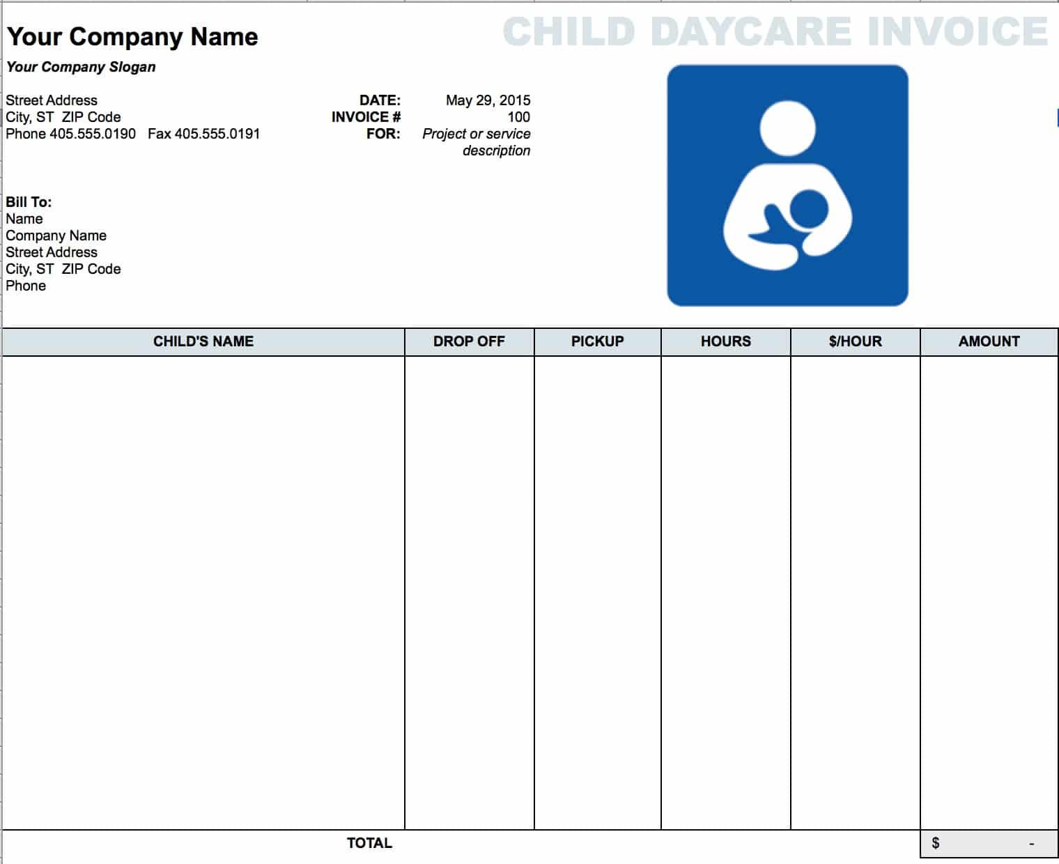 blank invoice templates in pdf word excel daycare child