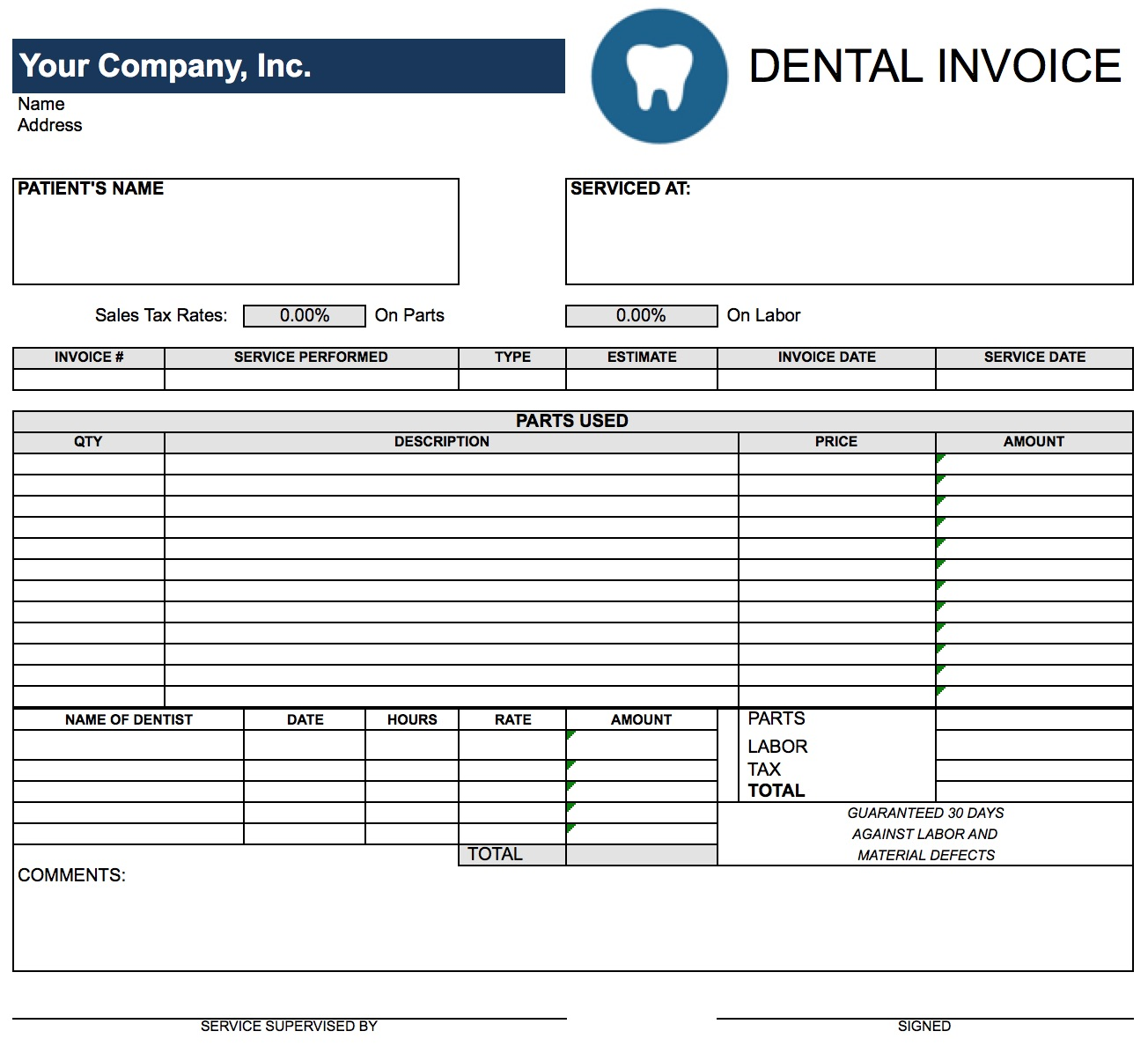 blank invoice templates in pdf word excel dental dentist