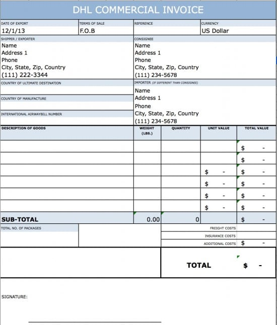 canada customs invoice template excel – residers, Invoice examples