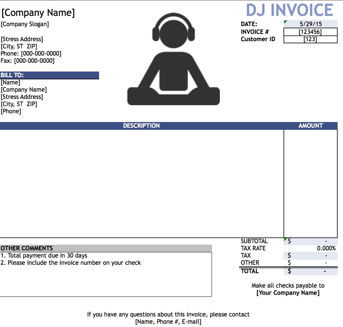 dj disc jockey invoice template excel pdf word doc