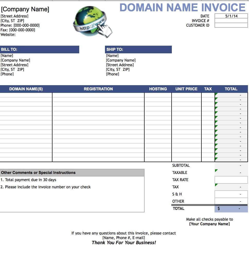 free domain name invoice template