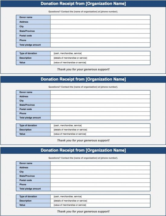 Free Donation Invoice Template Receipt Excel PDF – Donation Slip Sample