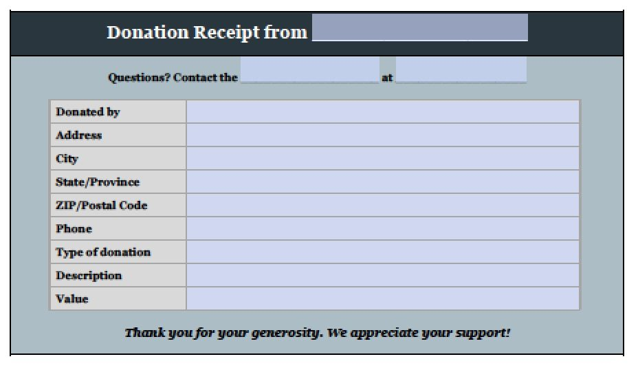 word donation form