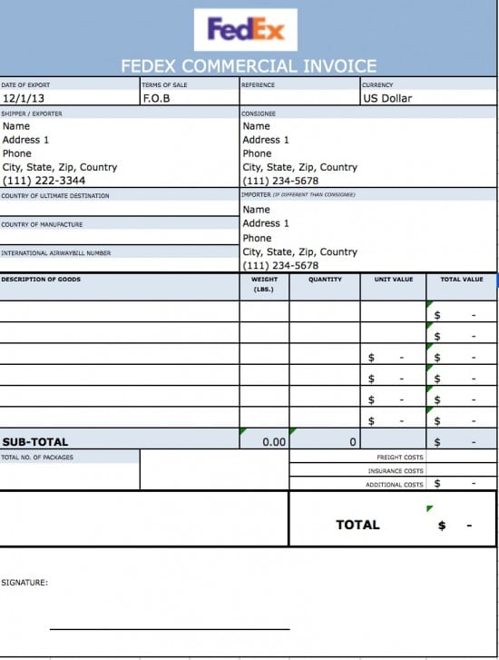 Free Fedex Commercial Invoice Template | Excel | Pdf | Word (.Doc)