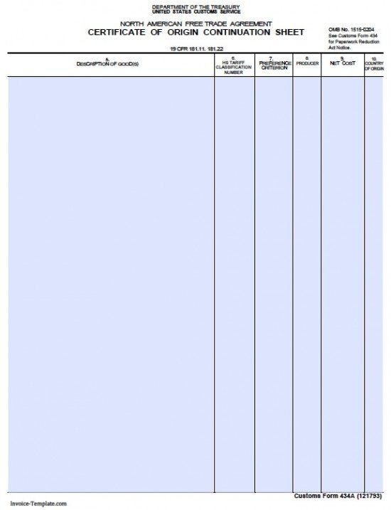 Free General Customs Commercial Invoice Template  Excel  Pdf