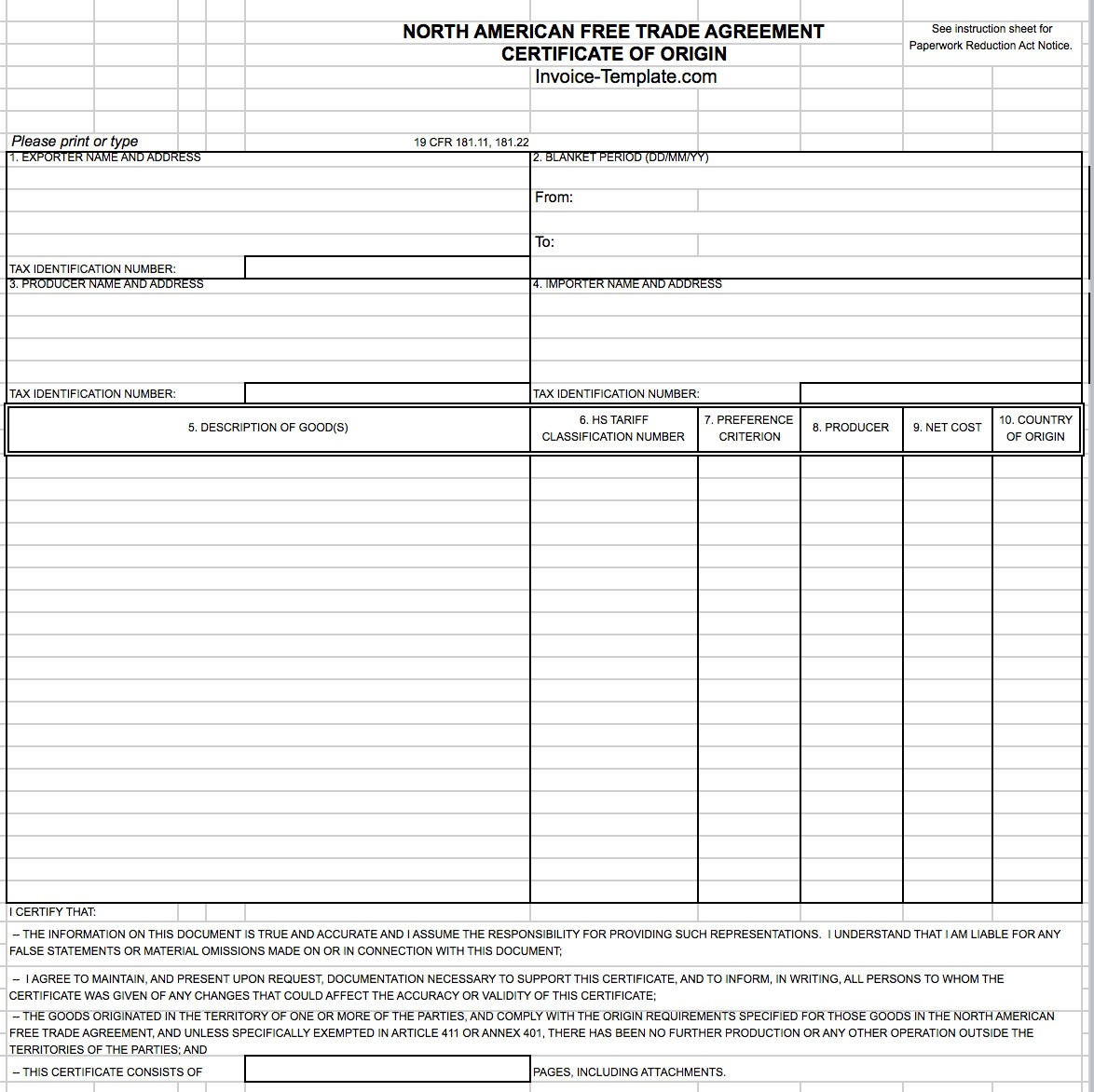 free general customs commercial invoice template | excel | pdf, Invoice templates
