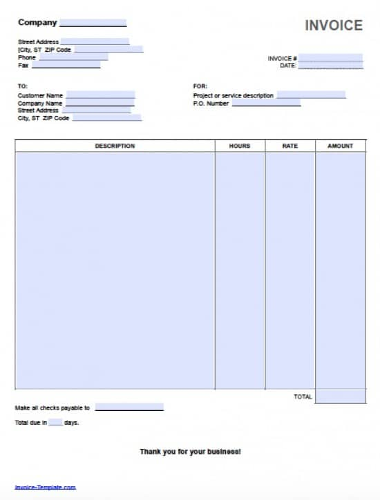 Free Hourly Invoice Template Excel PDF – Invoice Word Templates