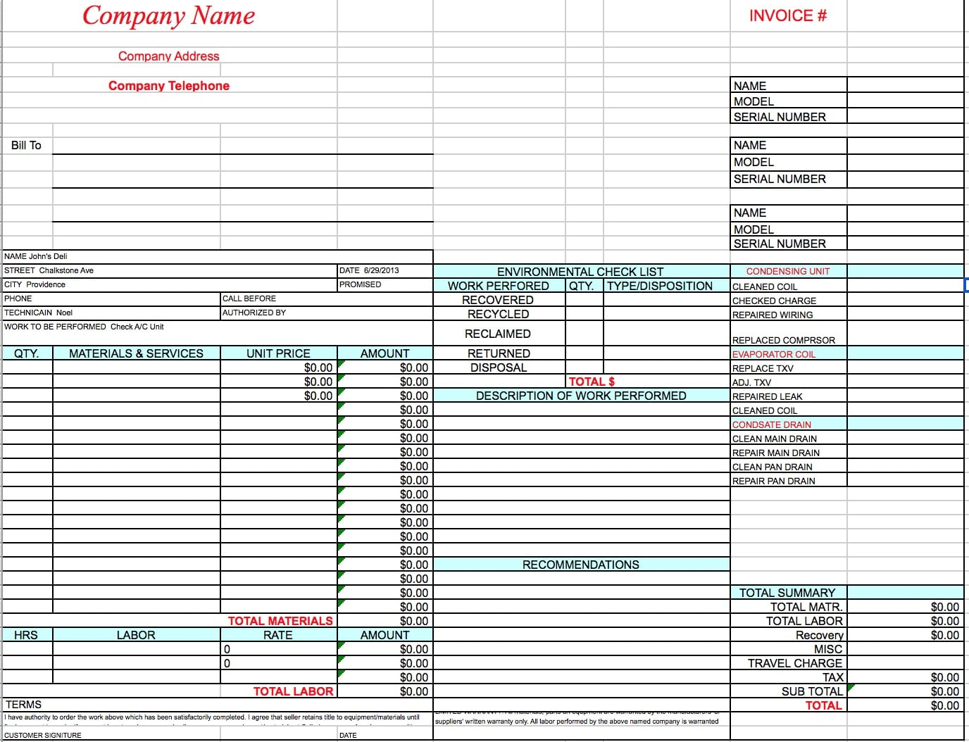 hvac invoice template excel pdf word doc