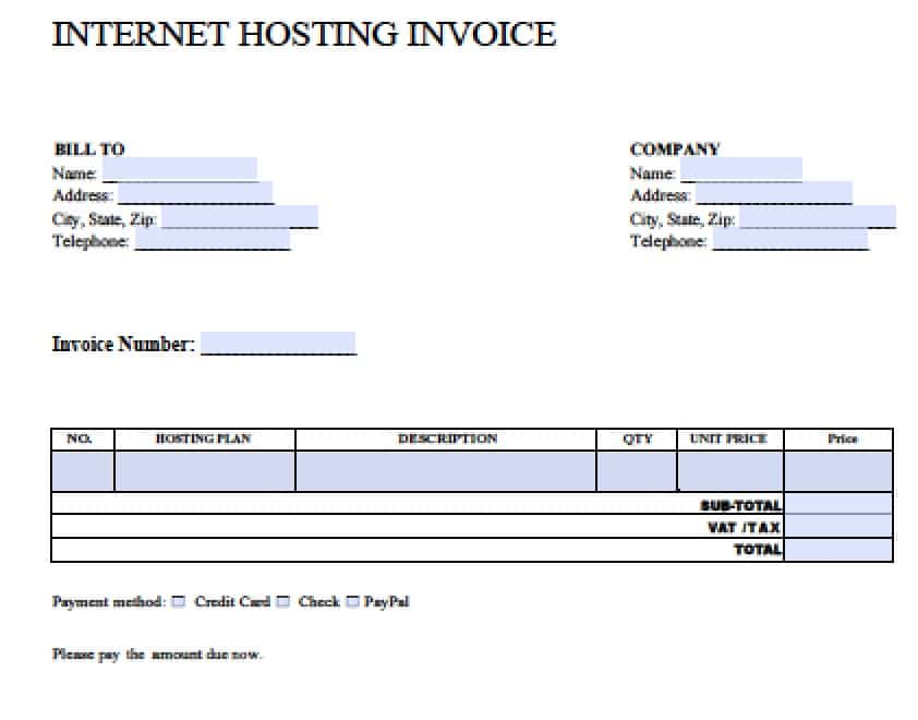Word Invoice Template Internet Hosting Free Blank Invoice – Ms Word Receipt Template