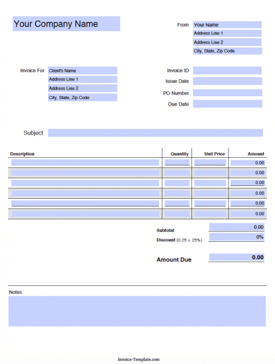 Free Blank Invoice Templates in PDF Word Excel – Blank Receipts Templates