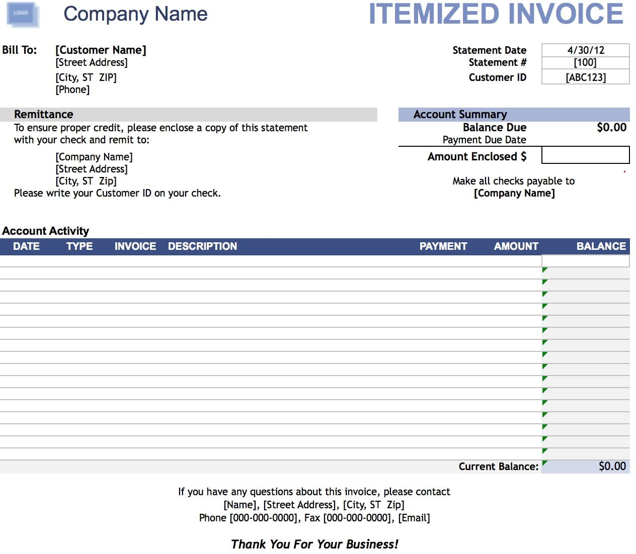 blank invoice templates in pdf word excel itemized itemized middot landscaping