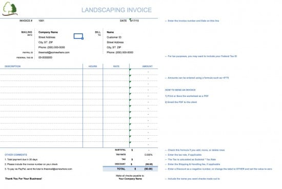 free landscaping (lawn care service) invoice template | excel, Simple invoice