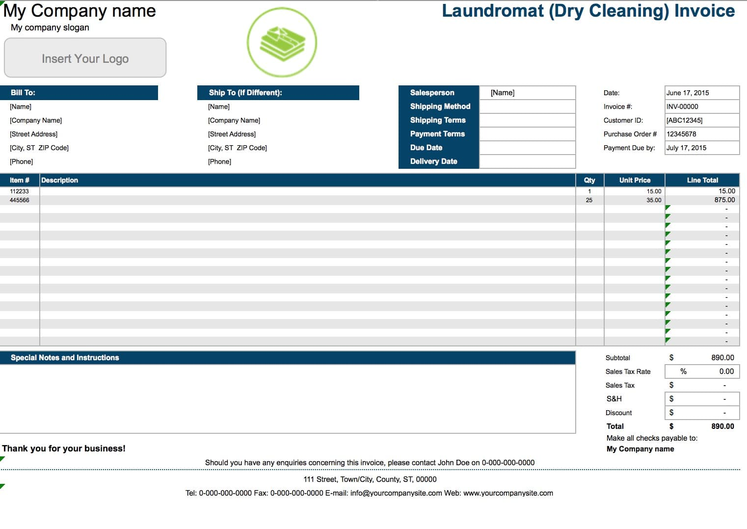 free laundromat dry cleaning invoice template excel