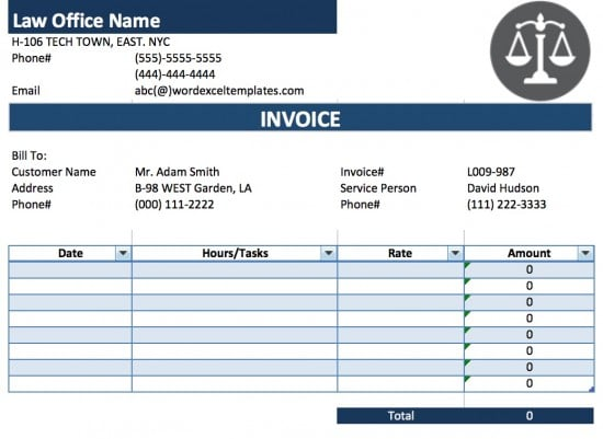 Free Legal AttorneyLawyer Invoice Template Excel PDF – Office Receipt Template