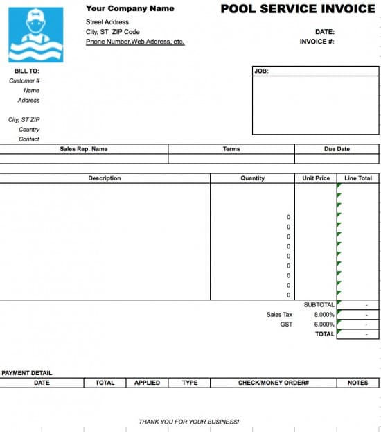 Occupyhistoryus  Nice Free Pool Service Invoice Template  Excel  Pdf  Word Doc With Marvelous Microsoft Excel Xls With Endearing Received Receipt Format Also Print Receipt Book In Addition Private Sale Receipt Template And Donation Receipt Templates As Well As Rental Receipts For Tenants Additionally Taxi Receipts Template From Invoicetemplatecom With Occupyhistoryus  Marvelous Free Pool Service Invoice Template  Excel  Pdf  Word Doc With Endearing Microsoft Excel Xls And Nice Received Receipt Format Also Print Receipt Book In Addition Private Sale Receipt Template From Invoicetemplatecom