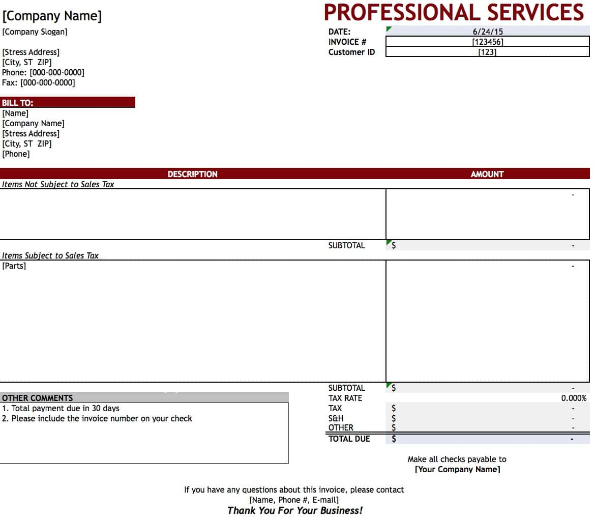 invoice template professional services