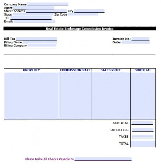 free real estate brokerage commission invoice template | excel, Simple invoice