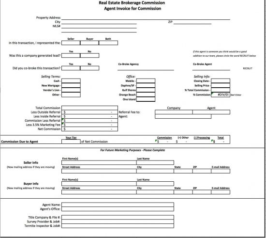 Free Real Estate Brokerage Commission Invoice Template – Payroll Receipt Template