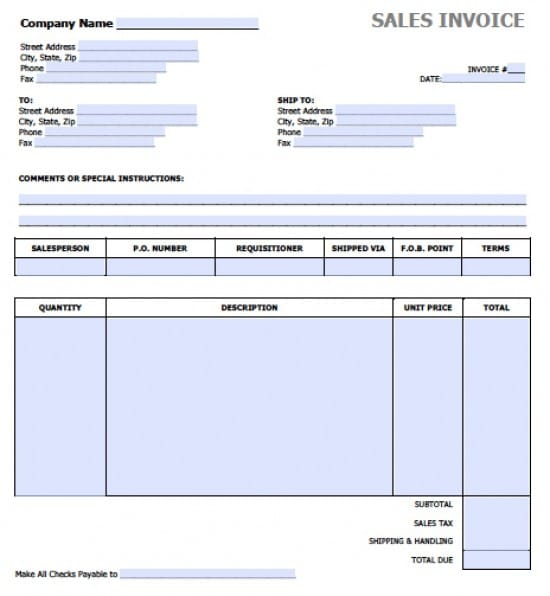 Free Sales Invoice Template Excel PDF – Word Document Invoice