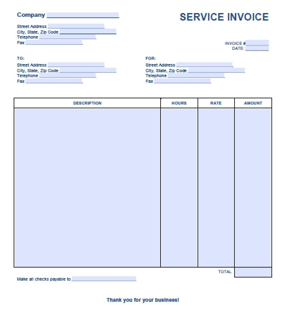 template of invoice in word