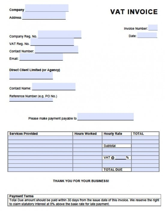 Free Value Added Tax Vat Invoice Template  Excel  Pdf  Word